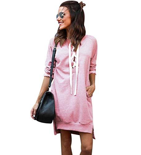 Sweatshirt Damen Lang Lange Pullover Kleid Damen Longpullover Sweat Pullis Langarm Oversize Long Sweatshirts Kleid Longpullis Sweatkleid Sweatshirtkleid Frauen Sweatpullover Rundhalspullover Rosa M