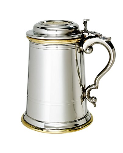 Wentworth Pewter - Heavy lidded'Celtic Gold' 1 Pint Pewter and Brass Tankard, Stein, Beer Mug