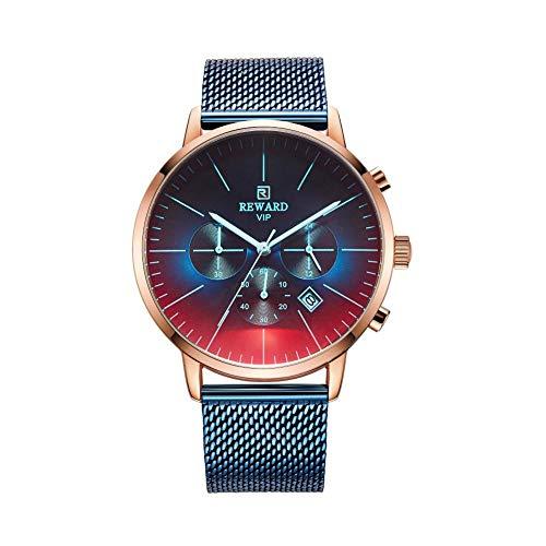 Armbanduhr Herren Mit 6 Zeigern Wasserdichtes Multifunktionales Verschleißfestes Kratzfestes Maschenarmband Für Reward (blau)