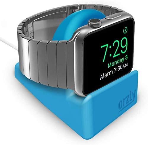 Orzly - Compact Stand per Apple Watch (Tutti i Modelli) – Compatibile con modalità Night Stand - Blu Stand da Supporto con Slot per Cavo (Compatibile 38mm / 42mm / 40mm / 44mm)