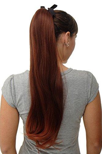 WIG ME UP - Haarteil Zopf Pferdeschwanz Streckkamm und Band lang glatt Rot, Mahagonibraun-Kupferrot-Mix 65cm D13001-33T350