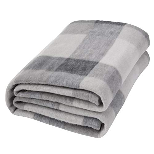 Dreamscene Grey Plaid Check Fleece Blanket Super Soft Warm...