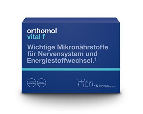 Orthomol vital f 15er Granulat, Tablette & Kapseln, Orange - Vitamin Komplex für Frauen bei Müdigkeit & Erschöpfung