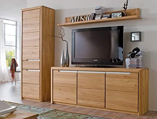 Wohnwand Pisa 33 Eiche Bianco massiv 3-teilig Medienwand TV-Wand Wohnzimmer TV-Möbel