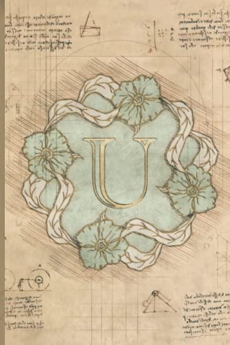 U: Monogram Notebook. Vintage Style Notebook. Initial Notebook College...