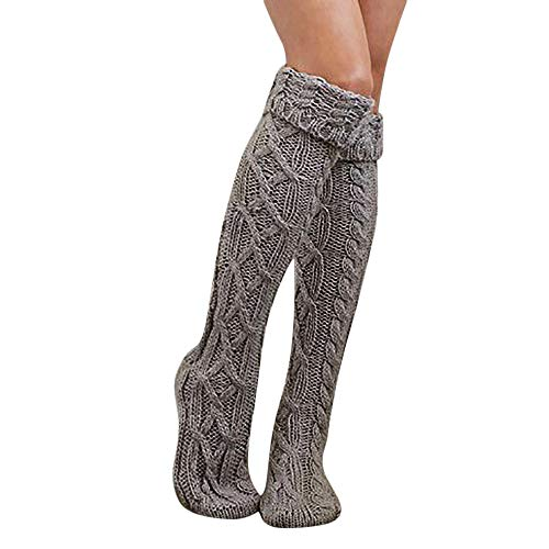 BHYDRY Damen Herbst und Winter warme Lichtfarbe Bandagen über die Knie in den Schlauchstrümpfen(55-65cm,Grau)