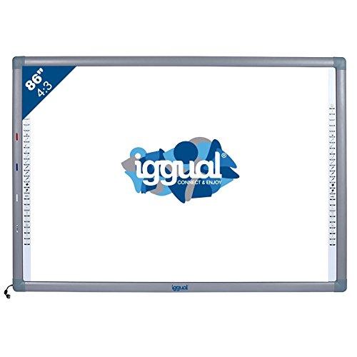 """iggual IGG314371 86"""" Pantalla táctil USB Gris, Color blanco pizarra y accesorios interactivos - Accesorio pizarra interactiva (USB, USB Type-A, 100 mA, CE, FCC, ROSH, ISO, Gris, Color blanco, 1776 mm)"""