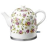 OH Pratico Bollitori - Ceramica Cordless Bianco Bollitore Elettrico Teapot - Retro 1.2L Brocca, 1200W Bolle L'Acqua Veloce per Tè, Caffè, Zuppa, Farina D'Avena - Bollire Protezione