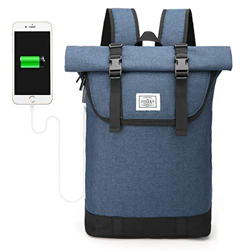 JOSEKO Laptop-Rucksack, Reiserucksack Leichter Wasserdicht Herren&Damen Rucksack mit Laptopfach Outdoor Rucksack mit großer Kapazität und USB Ladeanschluss Blau