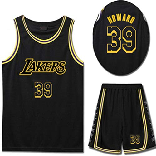 Herren Basketball Jersey Dwight Howard 39# Los Angeles Lakers Jersey T-Shirt Schwarz Shorts Gymnasiast Herren Mesh Sportswear 4XS-5XL 90er Jahre Party Kleidung Hip-Hop Atmungsaktiv-black-3XL