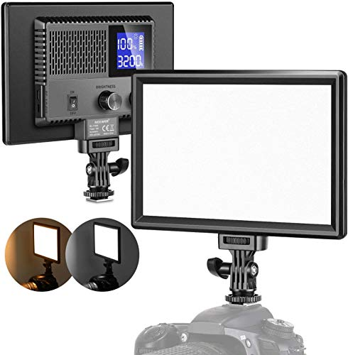 Neewer Ultra Sottile LED Video Luce Pannello, Dimmerabile On Camera Illuminazione Video per DSLR Fotocamere con LCD Display/3200-5600K/CRI 95+/Batteria Integrata per Riprese Video in Studio