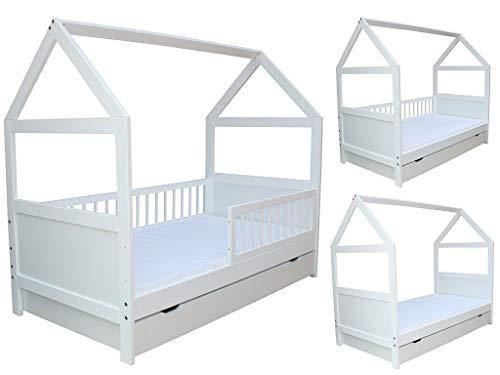 Micoland Kinderbett Juniorbett Bett Haus 140x70cm massiv mit Matratze und Schublade Weiss umbaubar
