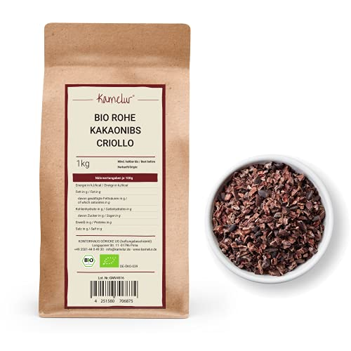 1kg di granella di cacao BIO da fave di cacao Criollo non tostate - alimento crudo - pennini al cacao BIO per un'intensa esperienza di gusto - confezione che rispetta l'ambiente