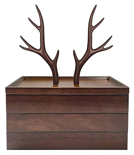 Organizador de joyería de madera exquisita 3 Negocio de joyería de 3 niveles Soporte de árbol de joyería, resina y caja de almacenamiento de joyas de madera para collares Pendientes de pulsera y anill