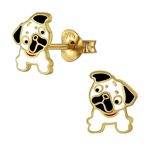Sterling Silver Pug Earrings with Gold Plating - Extra Small