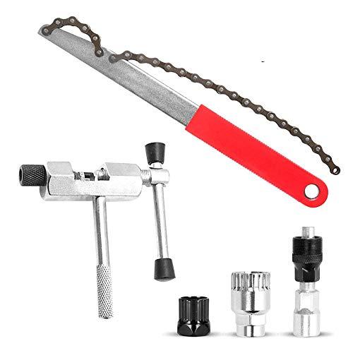 Bestine Fahrrad Reparatur Set, Kurbelabzieher mit Schraubenschlüssel, Entfernungswerkzeug Fahrrad Kettenpeitsche Ritzelschlüssel Werkzeug für Schwungrad und Kettenritzel Wartung