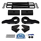 Supreme Suspensions - Full Lift Kit for Chevy Silverado 1500HD 2500HD 3500HD Adjustable 1' to 3' Front Lift Torsion Keys + 1' Rear Lift Blocks + Square Bend U-Bolts + Shock Extenders 4x2 4x4 [8-Lug]