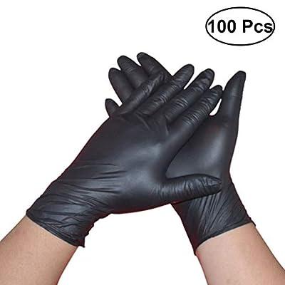 Yarnow 100 PCS Medical Latex Black Gloves - Disposable Heavy Duty BLACK Powder Free Nitrile Medical Gloves - Size S