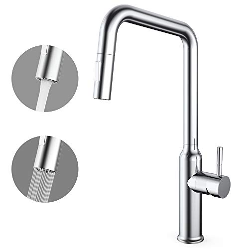 Cheapest Prices! CORYSEL Kitchen Faucet with Pull Down Sprayer and 2 Water Outlet Modes, Single-Hand...