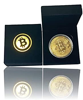 New Bitcoin Commemorative Coin Gold Plated BTC Limited Edition Collectible Coin with Protective Velvet Case