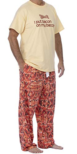 ComputerGear Mens Pajama Set Short Sleeve Top PJ Pants with Side Pockets Bacon Print Unisex L