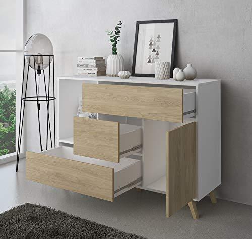 COMFORT Esszimmer Sideboard, Zusatzmöbel Buffet Wind 1 Tür, 3 Schubladen, Farbstruktur Weiß und Farbe Tür und Schubladen Puccini. Maße: 120x40x86cm.