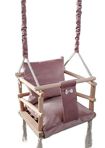 Golden Kids Babyschaukel Babysitz Baby Kinderschaukel Holz Stoff Schaukel zum Aufhängen Baumschaukel (Rosa - 3 in 1)