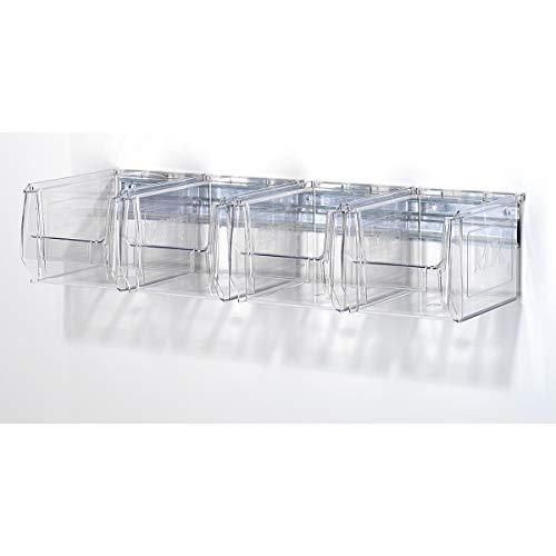 Wandschiene mit Sichtlagerkästen - glasklar, Länge 600 mm, 4 Kästen - Sichtlagerregale Wandschienen Sichtlagerkästen Sichtlagerregale Wandschienen Sichtlagerkästen