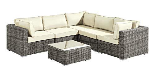 Baidani Rundrattan Garten Lounge Garnitur Vacation - Ecru