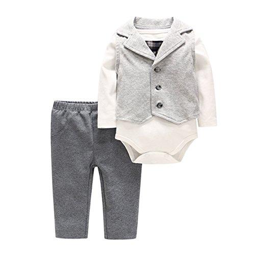 Bebone Baby Junge Smoking Taufe Hochzeit Anzug Babybekleidung Set (Grau, 59)