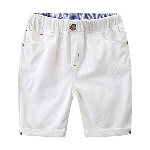 Bebone Ninos Pantalón Corto Casual para Verano (Blanco,9-10anos)
