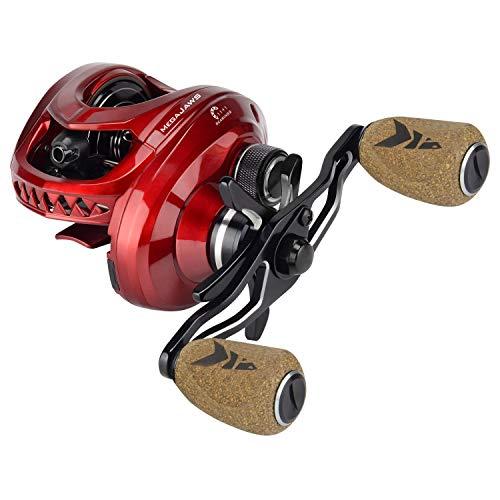 KastKing MegaJaws Baitcasting Reel,9.1:1 Gear Ratio,Left Handed Fishing Reel,Predator Red