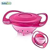 Babyjem Verschüttete Platte, Rosa Farbe, 360 ° Drehung, Mit Deckel, Spaß, Babynahrungsschüssel, BPA frei, Sicher und fu