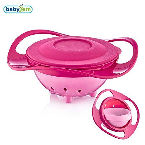 Babyjem Verschüttete Platte| Rosa Farbe | 360 ° Drehung | Mit Deckel | Spaß | Babynahrungsschüssel | BPA frei | Sicher und funktional | Kippbare Platte