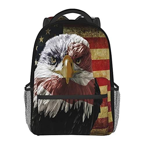 Mochila de 17 pulgadas con bandera de águila de los E.E.U.U. mochila para ordenador portátil, mochila escolar de viaje con correa de pecho