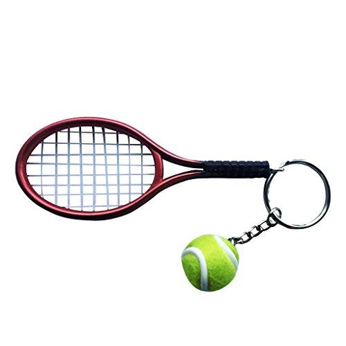 Llavero Colgante Anillo Joya Clave Mini Pelota de Tenis Raqueta Decoración Bolso Regalo - Rojo
