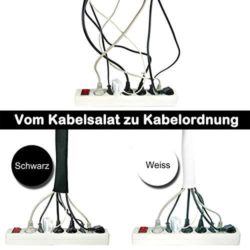 Doppelpack 2 x 3 Meter x 135 mm Kabelschlauch Weiß - Schwarz, Kabelkanal Flexibel, Neopren mit innovativem Klettverschluss und einstellbarem Durchmesser | Kabel verstecken