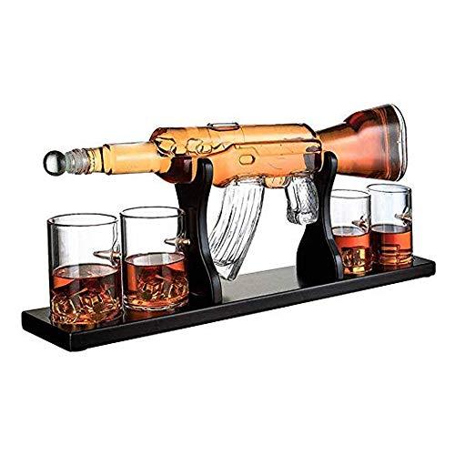 QYHSS 800Ml Carafe à vin Blanc Carafe, Fusil Élégant Whisky Carafe, avec 4 Bullet Whisky Verres Et Mohogany Base en Bois, Grands Cadeaux pour Tous Ceux