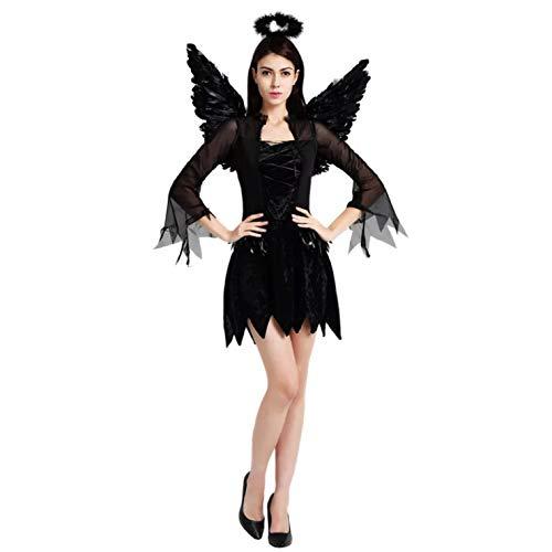 thematys Costume da Angelo Nero per Donna - Perfetto per Cosplay, Carnevale e Halloween - Taglia Unica 160-180 cm