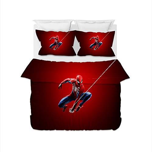 DDONVG Spiderman – Juego de funda nórdica de 150 x 200 cm, microfibra, 1 funda nórdica con cremallera y 1 funda de almohada de 50 x 75 cm, 100% suave y cómoda (135 x 200 cm)