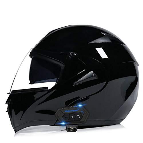 UIGJIOG Modular Cascos de Motocicleta Bluetooth+FM Dot certificación Flip Up Touring Cascos Incorporado Doble Altavoz Bluetooth con micrófono para Respuesta automática