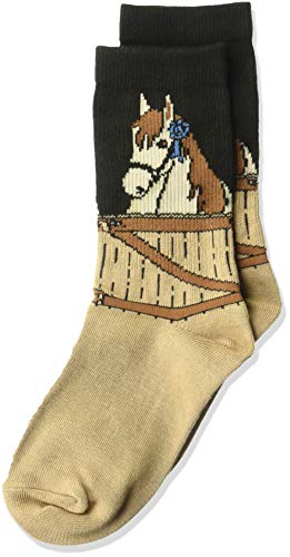 K. Bell Girls' Big Fun Novelty Crew Socks, black/Brown (blue ribbon Horse), Shoe Size: 7.5-13