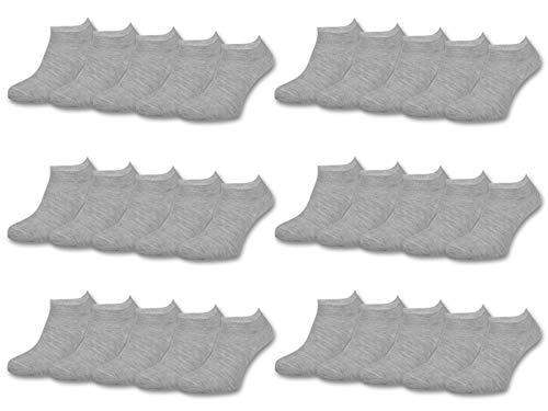 10 | 20 | 30 Paar Sneaker Socken Damen und Herren Schwarz und Weiß Baumwolle (35-38, 30 Paar | Grau)
