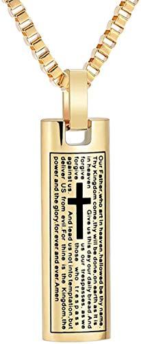 CremationJewelry for Ashes Bible Lord's Prayer Cube Colgante de cremación Recuerdo Memorial Ash Urn Collar-Oro