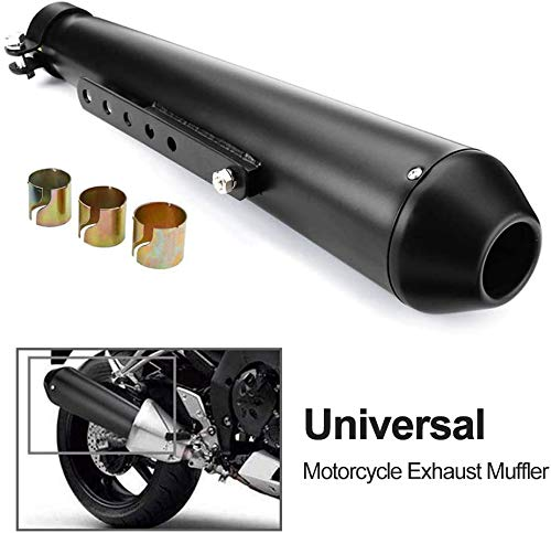Universal Stainless Steel Muffler Exhaust Pipe Motorbike Motorcycle Vintage Modified Silencer Slip On 1.5-2' Inlet Motorcycle Exhaust With Moveable DB Killer for Dirt Bike Street Bike Scooter (Black)