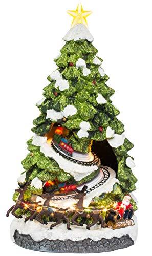 Brandsseller Deko Weihnachtsbaum Spieluhr mit LED Beleuchtung Warmweiß ca. 42 cm hoch