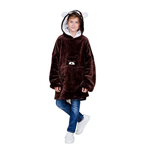 Bear Hoody BlanketWearable Oversized Blanket Sweatshirt Super Soft Warm Cozy Hoodie for Teens Girls Youth Kids(Brown)