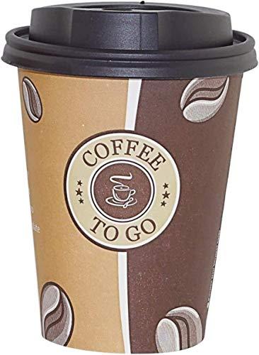 Gastro-Bedarf-Gutheil Kaffeebecher Pappe 300ml / 12oz Pappbecher Einwegbecher EINWEG Coffee to go 0,3 L Top Becher mit schwarzen Deckel (100, 300ml)