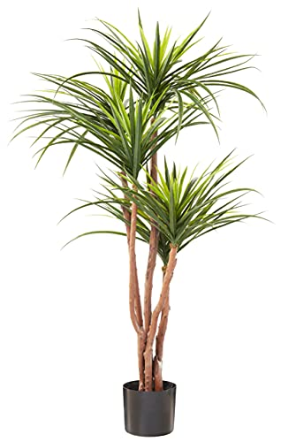 Artificial Tropical Yucana Tree with Rubber Leaves and Natural Trunk, Fake Plant...