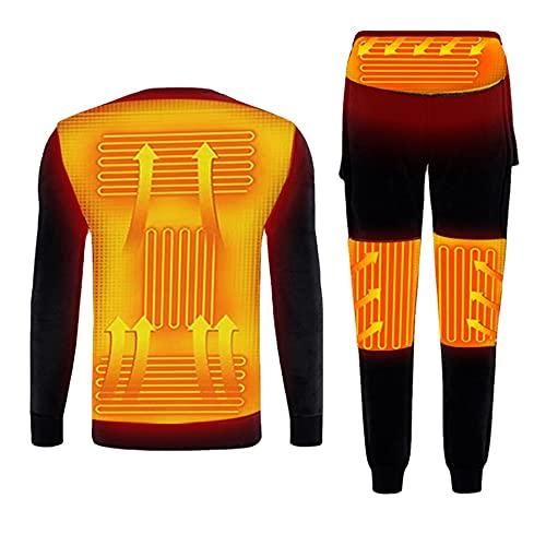 SUNYUN Conjunto de Ropa Interior Térmica Calefactables para Hombre Mujer Ropa Térmica Eléctrico Ciclismo Esquí Set de Ropa con 3 Configuraciones de Calor Lavable Camiseta y Pantalón (M,Negro)